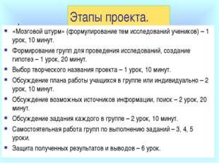 Этапы проекта. «Мозговой штурм» (формулирование тем исследований учеников) –