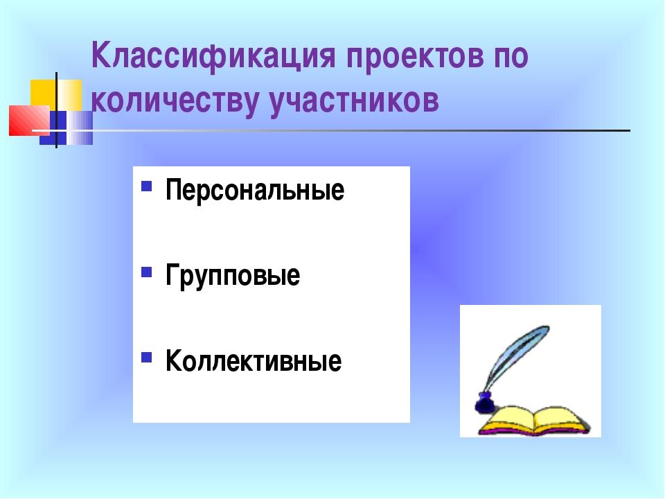 Классификация проектов по количеству участников Персональные Групповые Коллек...