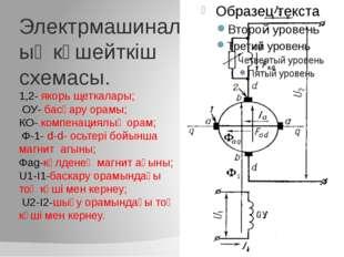 Электрмашиналық күшейткіш схемасы. 1,2- якорь щеткалары; ОУ- басқару орамы; К