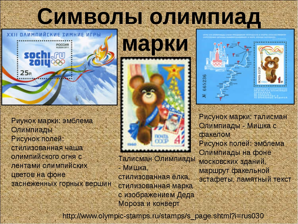 Символы олимпиад марки Риунок марки: эмблема Олимпиады Рисунок полей: стилизо...