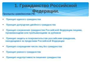 Принципы гражданства РФ: Принцип единого гражданства Принцип допущения двойно