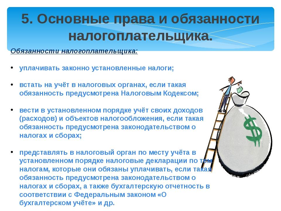 5. Основные права и обязанности налогоплательщика. Обязанности налогоплательщ...