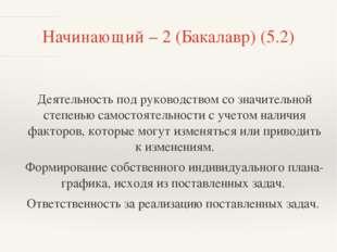 Начинающий – 2 (Бакалавр) (5.2) Деятельность под руководством со значительной