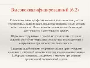 Высококвалифицированный (6.2) Самостоятельная профессиональная деятельность с
