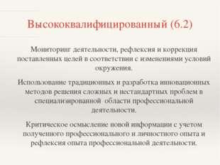 Высококвалифицированный (6.2) Мониторинг деятельности, рефлексия и коррекция