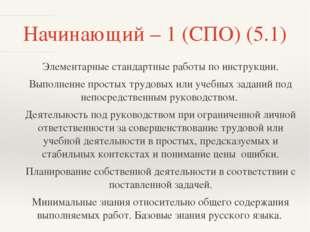 Начинающий – 1 (СПО) (5.1) Элементарные стандартные работы по инструкции. Вып