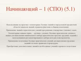 Начинающий – 1 (СПО) (5.1) Использование на практике элементарных базовых зна