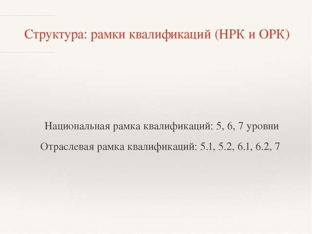 Структура: рамки квалификаций (НРК и ОРК) Национальная рамка квалификаций: 5,...