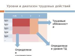 Уровни и диапазон трудовых действий Трудовые обязанности Определение уровня Т
