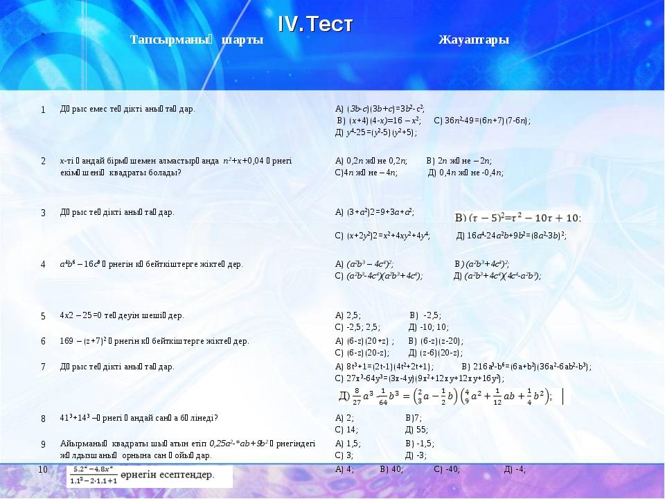 IV.Тест №Тапсырманың шарты Жауаптары 1Дұрыс емес теңдікті анықтаңдар.А) (...