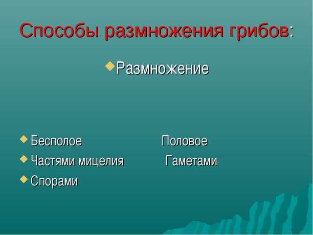 Способы размножения грибов: Размножение Бесполое Половое Частями мицелия Гаме...