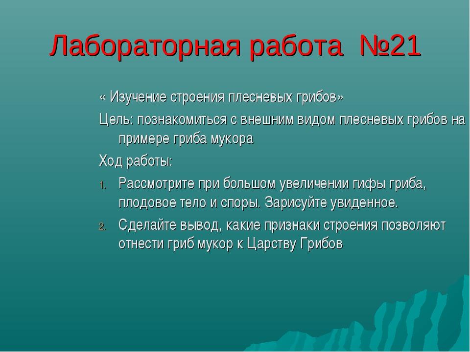 Лабораторная работа №21 « Изучение строения плесневых грибов» Цель: познакоми...