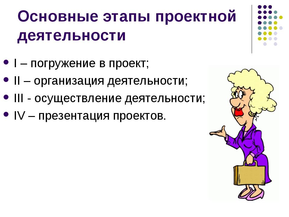 Основные этапы проектной деятельности I – погружение в проект; II – организац...