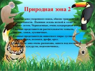 Природная зона 2 Безлесая зона умеренного пояса, обилие травянистой раститель
