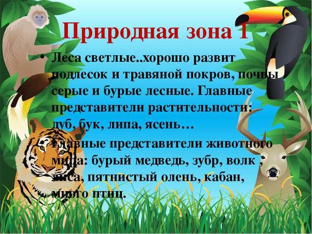 Природная зона 1 Леса светлые..хорошо развит подлесок и травяной покров, почв...