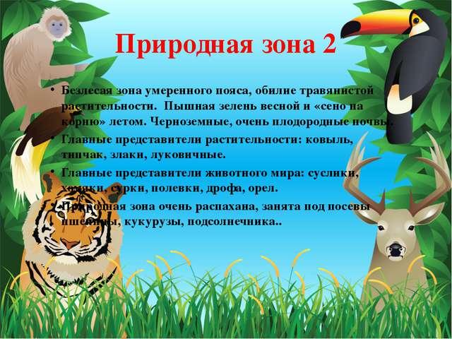 Природная зона 2 Безлесая зона умеренного пояса, обилие травянистой раститель...