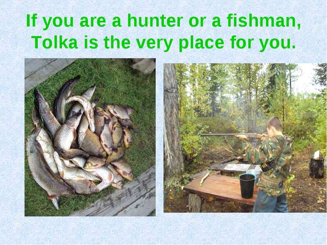If you are a hunter or a fishman, Tolka is the very place for you.