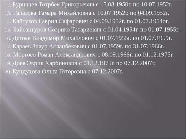 12. Бурнацев Тотрбек Григорьевич с 15.08.1950г. по 10.07.1952г. 13. Галазова...