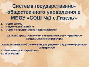 Система государственно-общественного управления в МБОУ «СОШ №1 с.Гизель» Сове