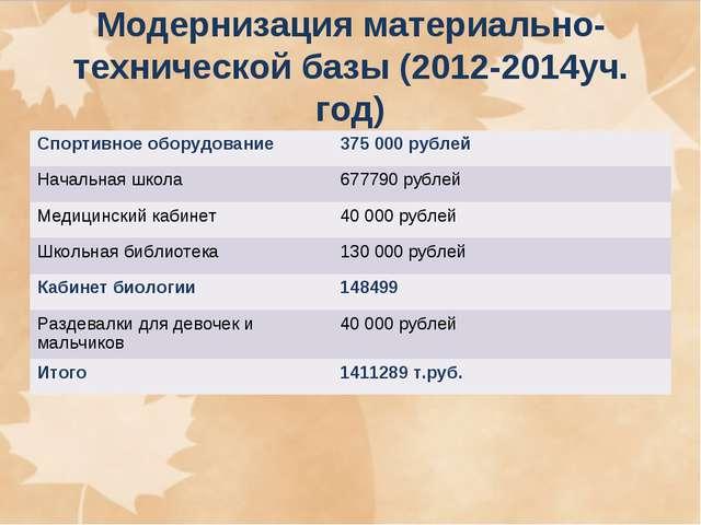 Модернизация материально-технической базы (2012-2014уч. год) Спортивное обору...