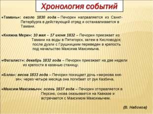 «Тамань»: около 1830 года – Печорин направляется из Санкт- Петербурга в дейст