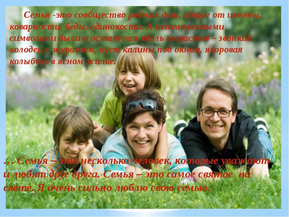 Семья -это сообщество родных душ, оберег от измены, коварности, беды, одинок...