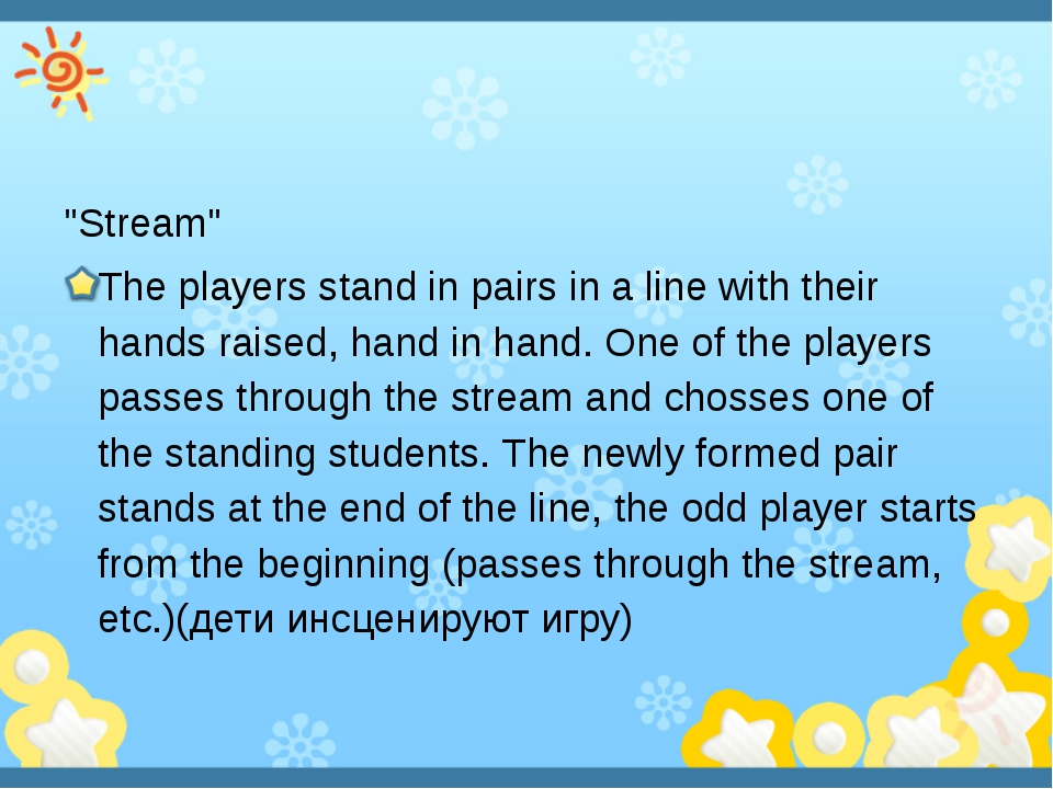 """Stream"" The players stand in pairs in a line with their hands raised, hand..."