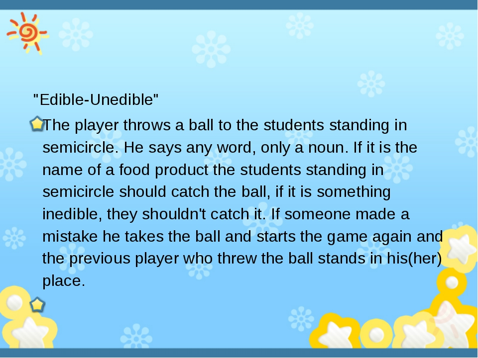 """Edible-Unedible"" The player throws a ball to the students standing in semi..."