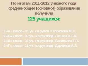 По итогам 2011-2012 учебного года среднее общее (основное) образование получи