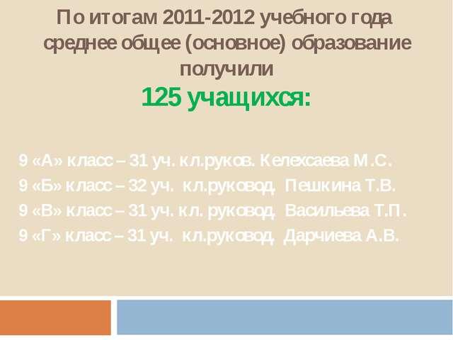 По итогам 2011-2012 учебного года среднее общее (основное) образование получи...
