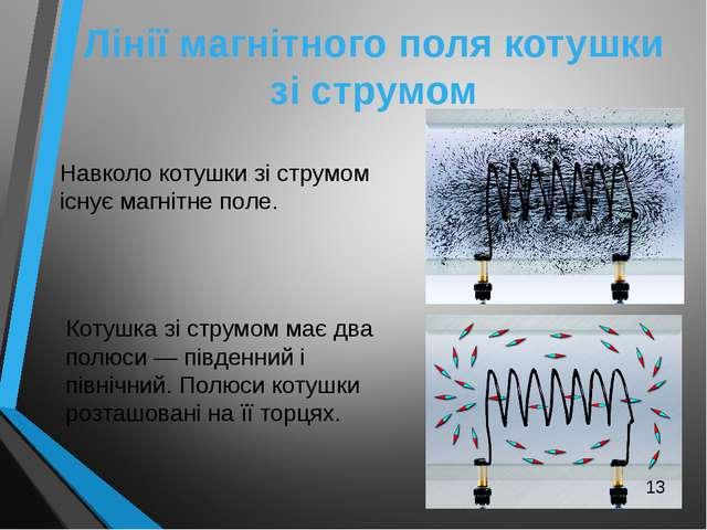 Лінії магнітного поля котушки зі струмом Навколо котушки зі струмом існує маг...
