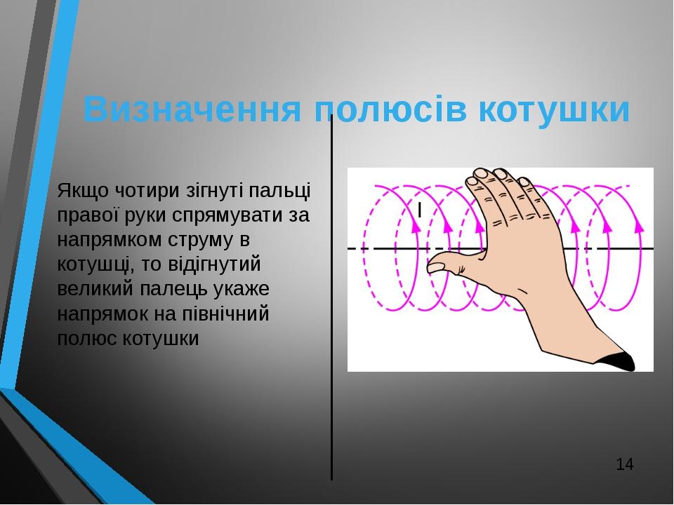 Визначення полюсів котушки Якщо чотири зігнуті пальці правої руки спрямувати...