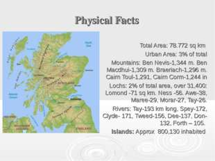 Physical Facts Total Area: 78.772 sq km Urban Area: 3% of total Mountains: Be