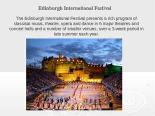 Edinburgh International Festival The Edinburgh International Festival present