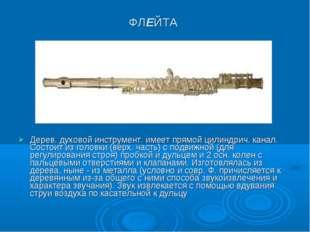 ФЛЕЙТА Дерев. духовой инструмент. имеет прямой цилиндрич. канал. Состоит из г