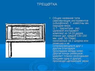 ТРЕЩОТКА Общее название типа самозвучащих инструментов (идиофонов). Т. извест