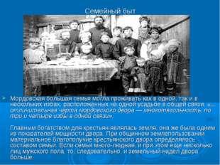 Семейный быт Мордовская большая семья могла проживать как в одной, так и в не