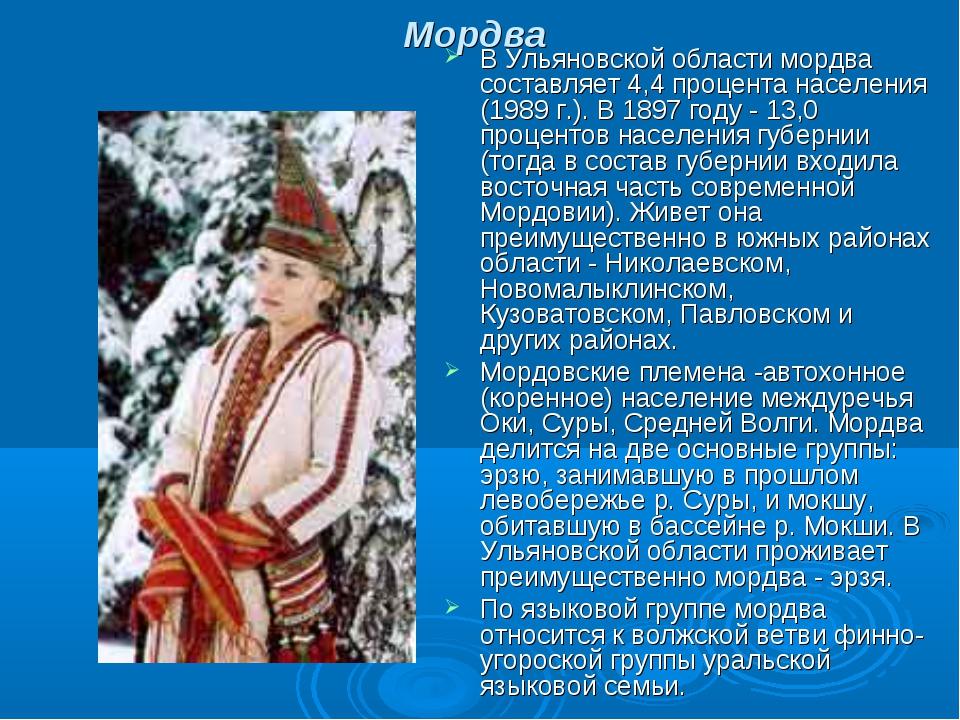 Мордва В Ульяновской области мордва составляет 4,4 процента населения (1989 г...