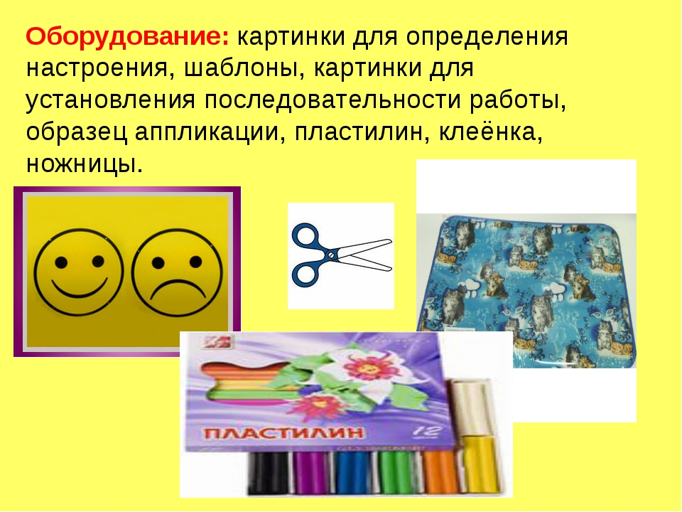 Оборудование: картинки для определения настроения, шаблоны, картинки для уста...