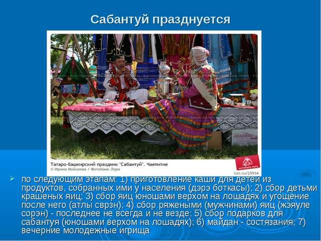 Сабантуй празднуется по следующим этапам: 1) приготовление каши для детей из...
