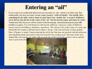 "Entering an ""ail"" If you want to try traditional Altai food you can enter an"