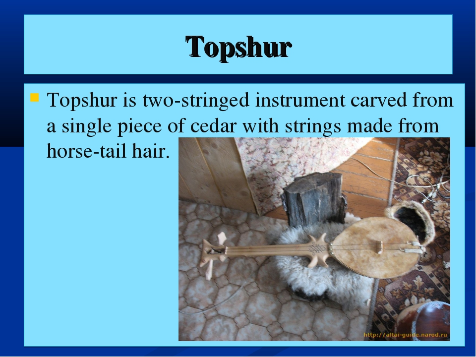 Topshur Topshur is two-stringed instrument carved from a single piece of ceda...