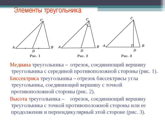 Элементы треугольника Медиана треугольника – отрезок, соединяющий вершину тре...