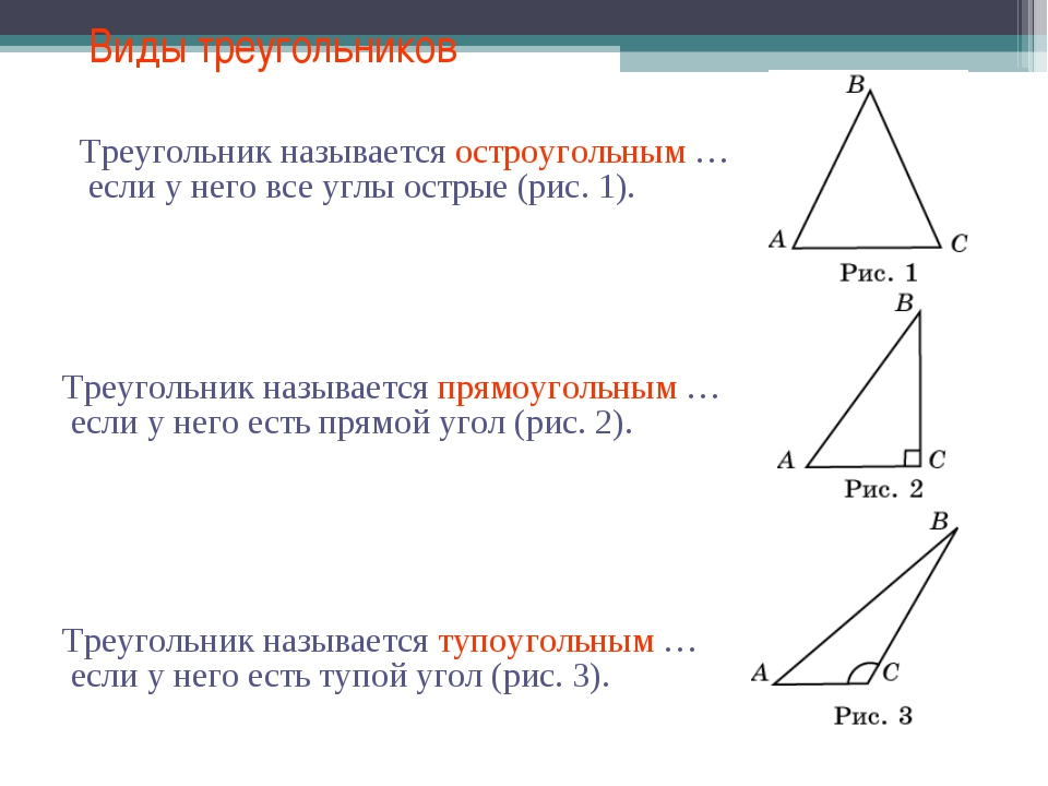 Виды треугольников Треугольник называется остроугольным … Треугольник называе...