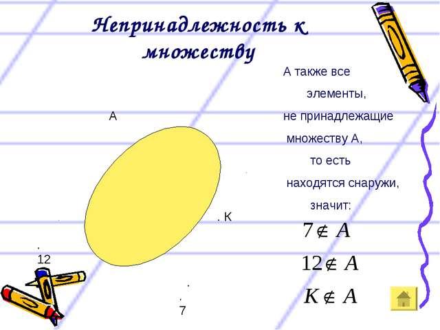 Непринадлежность к множеству А . . 7 . 12 . К А также все элементы, не принад...
