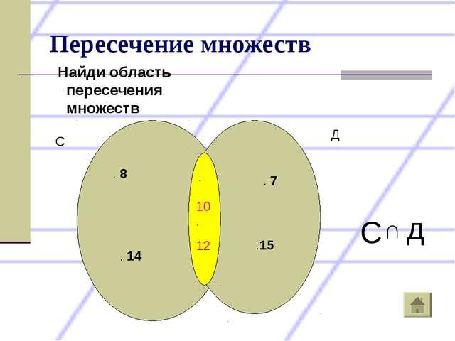 Пересечение множеств Найди область пересечения множеств 10. 12 . С Д . 8 . 14...