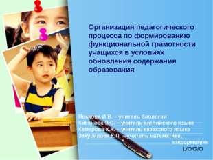 Организация педагогического процесса по формированию функциональной грамотнос