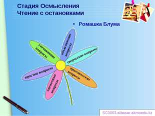 Стадия Осмысления Чтение с остановками Ромашка Блума SC0003.atbasar.akmoedu.k