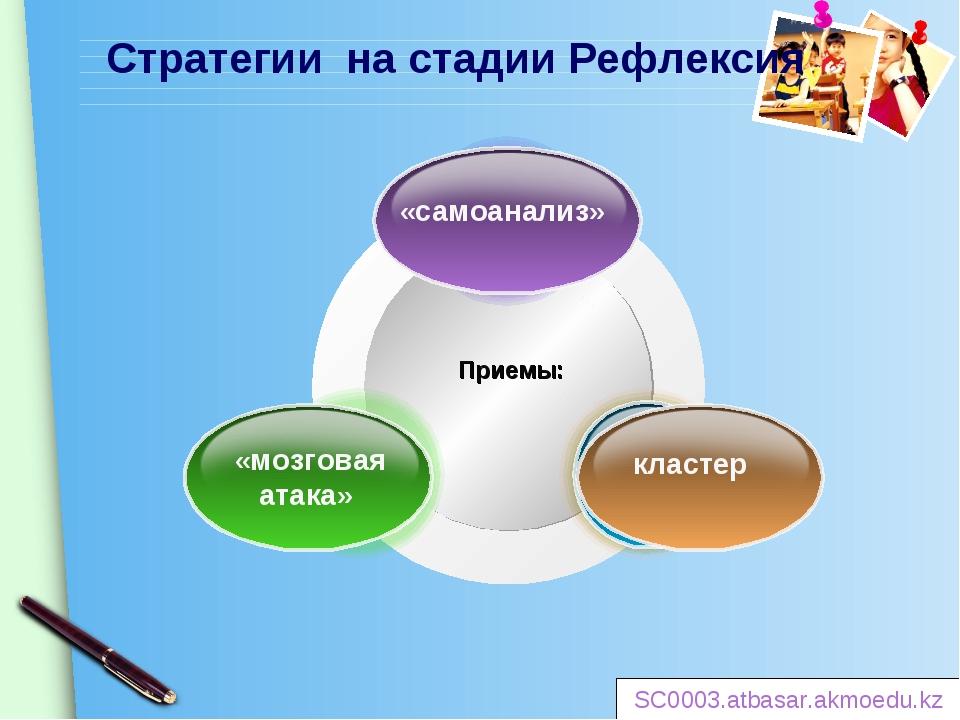 Стратегии на стадии Рефлексия Приемы: «самоанализ» «мозговая атака» кластер S...