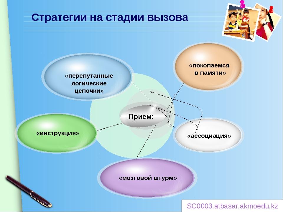Стратегии на стадии вызова Прием: SC0003.atbasar.akmoedu.kz www.themegallery....